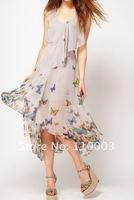 Irregular skirt the aesthetic butterfly print dress A493