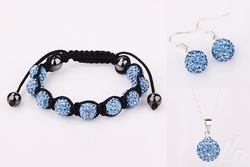 10mm free shipping 925 Sterling Silver Shamballa Beads Jewelry Set,10mm Crystal Ball Shamballa Necklace/Bracelet/Earrings(China (Mainland))
