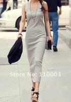 Smooth and comfortable elastic Slim skirt sleeveless casual dress  A510