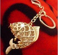 Free Shipping Full Rhinestone ,Crystal Fish Keychain Keyring Bag/Purse Charm gift Real Gold Plated ,Nickel free,HSKC0015