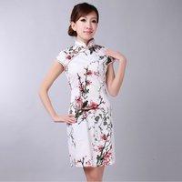 White Women's Cotton Cheong-sam Mini Qipao Dress S M L XL XXL Free Shipping D0174