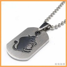 Free Shipping Fashion jewelry The Signs of the Zodiac Taurus Bull Pendant 316L Stainless Steel Necklaces Men Necklace 07686