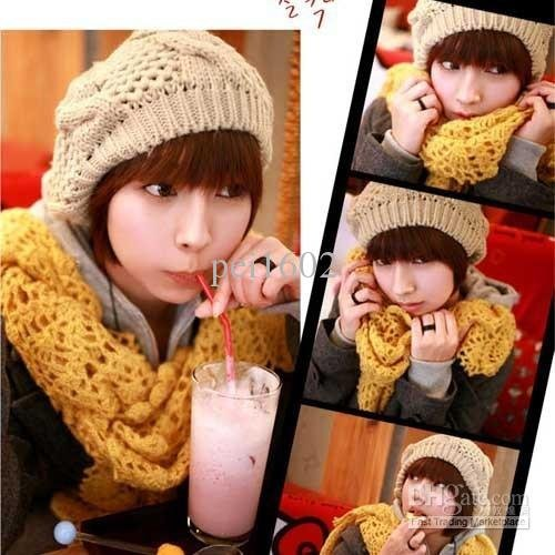 6 Colors Warm Winter Women Beret Braided Baggy Beanie Crochet Hat Ski Cap X 1PCS(China (Mainland))