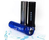 Factory Price 50pcs Mini Portable Music Speaker Box + Flashlight + TF/Micro SD Card Slot + Fixing Strap