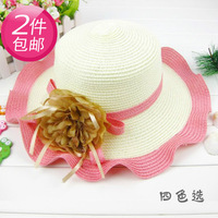 free shipping Summer wave roll-up hem lace flower straw braid female big along the cap sunbonnet beach cap folding dropshipping