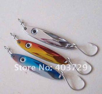 Free shipping 10pcs 4.5cm/6g fishing spoons fishing spinner metal lure, treble hooks and single hooks for choosing