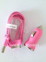 Pink Mini Car Charger + USB Data Cable for iPhone 4 4S 3G S iPod,Customized colors for Mini Car Charger+USB Data Cable welcome