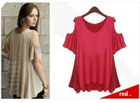Women Red Chiffon/Apricot  Polyester Summer Active Shirt Size-M 0461