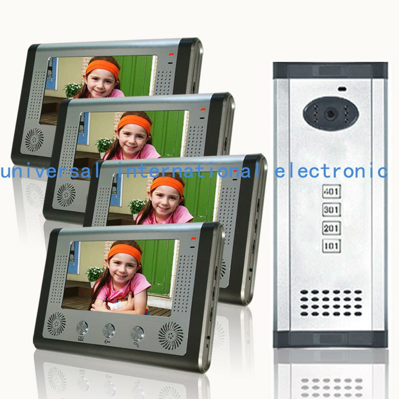 "Hot selling 7"" video door phone 4 apartments building intercom system(China (Mainland))"