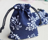 Traditional Chinese handicrafts, blue and white cotton packing bag, jewelry bag / jewelry pouch / gift bag/jewelry package