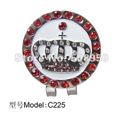 Newest Crystal Golf Ball Marker & Hat Clip - 2012 Hot Sale Golf Promotional Gilf Wholesale(China (Mainland))