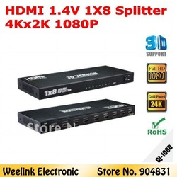 Hotselling Factory provide HDMI 1.4v Splitter 1x8 support 1080p 4Kx2K and 3D Good quanlity CE FCC(China (Mainland))