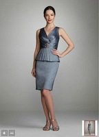 2012Short Sleeve V Neck Stretch Taffeta Dress Style EJ1M0596