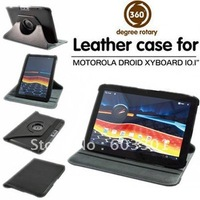 "10pcs/lot 360 degree rotating case cover for Motorola DROID XYBOARD 10.1"", black color, free DHL shipping"