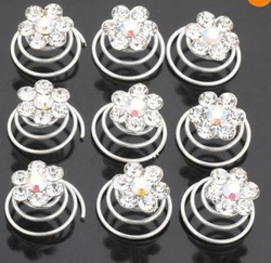 120pcs/lot Free Shipping Crystal Flower Twist Spin Hair Pins. Party Bridal Twist Pins. Clear White(China (Mainland))