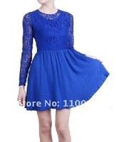 Long-sleeved lace hollow dress  A578