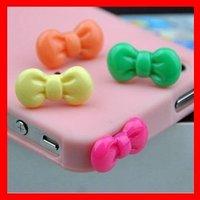 Free Shipping Minipol Ear Cap,Cute Bowknot 3.5MM Jack Anti Dust Ear Cap Plugs Stopper for iPhone4G/4S,10pcs/lot+retail package