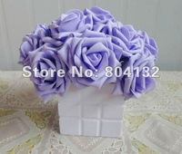 "Purple100pcs Dia.7cm/2.76"" Artificial Simulation PE Foam EVA Camellia Rose Peony Wedding Christmas Bridal Flower Ball"