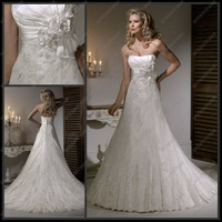 Свадебное платье New Fashion Strapless Basque Waist Satin Wedding Dress 2012 With Beading MD-B073