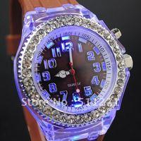 Free Shipping Women's CZ Diamond Silicone Quartz Jelly Candy Wrist Watch Brown JM037