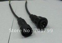 3core  waterproof connector with 20cm long cable,male and female;black color: the male connect's diameter:15mm