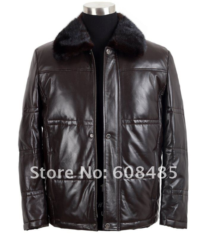 Free shipping Men fashion leisure genuine leather down coat mink fur collar Sheepskin down-filled jacket(China (Mainland))