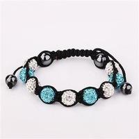 Браслет из бисера Gold 10mm Beads Black Lines Shambala Style Charm Crystal Bracelet