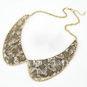 fashion double leaf women necklace chain amazing short alloy necklace (mix order) ...