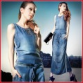 Free-shipping Fashion female women's vintage slim casual midguts denim one-piece dress plus size via HKPAM