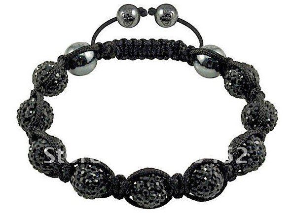 jewelry Wholesale shamballa bracelet , black one, New Bracelets Micro Pave CZ Disco Ball Bead CJB080(China (Mainland))