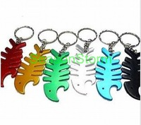 [EMS Free Shipping] Wholesale Fish Style Alloy Beer Bottle Opener Keychain Mixed Color (SX-127E)