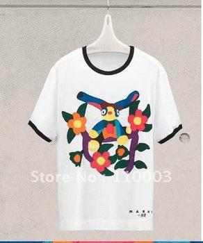 Cartoon birds spend short sleeve ladies T-shirt B044