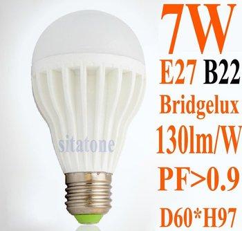 DHL and  HK Post Air Mail Free shipping sale High quality AC85-265V B22 E27 7W LED bulb USA  Bridgelux 130lm/W 2 year warranty