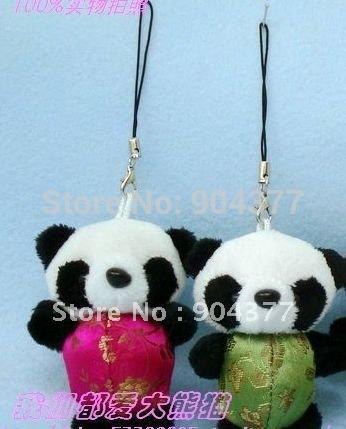 Good quality Plush Clothes Panda Mobile Cell Phone Pendant Charm 40pcs/pack Free shipping(China (Mainland))