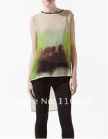 sunset shadows Ink printing long and short T-shirt  A626