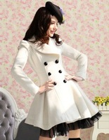 Free Shipping Pink Doll Women double breast Long Wool Coat ,/ Pure White /Twill High quality fabric / Fashion lace bottom