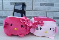 Minimum Order 15$ -- Plush Stuffed Toy; Kawaii Hello Kitty Tofu Shape; Cell Mobile Phone Stand Holder Case Pouch Bag
