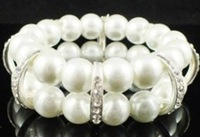S1013   10 MM pearl Rhinestone Lovers Bangles Stretch bracelet  promotion 3pcs Free shipping