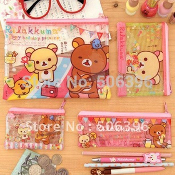 Free Shipping Fashion Stationery cute bears zipper design pencil / cosmetics / storage holder / bag / pouch 4pcs/set H04
