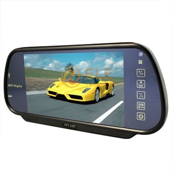 7 inch Car Rearview Mirror 2CH Video Monitor/MP5 Media Player for Backup Camera,DVD.