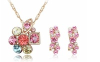 Super Price Fashion Jewelry Set/1 Piece Necklace +1 Pair Earring 4 Colors High Quality Free Shipping