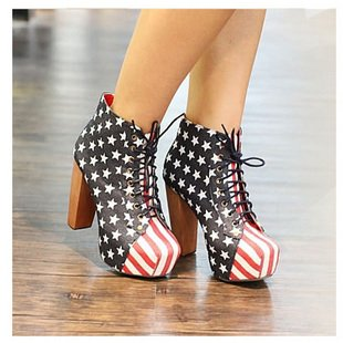 size 35-39 women casual flag lace-up shoes,square toe high heel shoe,fashion platform high upper ankle boots pumps hh076 *(China (Mainland))