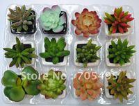 HOT SALE!!!Free Shipping 12pcs/set Mini Artificial Bonsai Succulent Plant,Office and Home Decoration Bonsai  in ceramic pot
