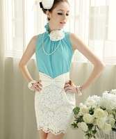 Free Shipping New Arrival Flower Decorated Stand Collar Sleeveless Blouse
