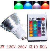 3W 120V-260V GU10 RGB LED Bulb Light Lamp 16 Colors Changing Remote Control