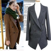 Free shipping 2013 new women's autumn winter elegant medium-long double breasted wool jacket fashion wool coat outerwear  C4-C8