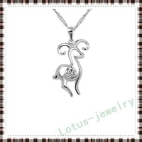 Free Shipping! silver pendant for necklace jewelry of 100% solid genuine 925 sterling silver CZ goat animal  pendant