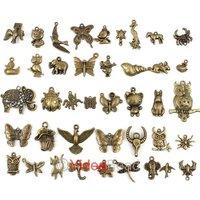 Fashion Charms Animal Shape Antique Bronze Tone Mixed 40 Designs pendant beads  240pcs 141374 Free Shipping