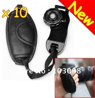 Wholesale And Free Shipping 10 New Universal PU Leather Hand Grip Strap For SLR Camera CANON NIKON SONY