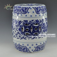 Chinese Blue and White Porcelain Lotus flower Pattern Garden Drum Stool With Nail 16'' Made in Jingdezhen